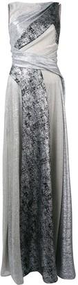 Talbot Runhof Metallic Panelled Long Dress