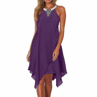 SIMPLEWORD Women's Embroidered Neck Sleeveless Chiffon Hi-Low Handkerchief Dress Purple