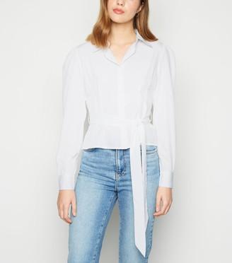 New Look Influence Tie Waist Puff Sleeve Blouse