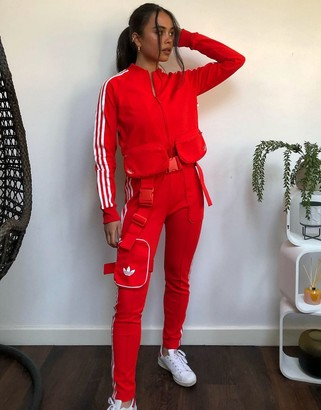 adidas Ji Won Choi x Olivia track pants with removable belt pocket in red