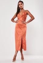 Missguided Rust Satin Button Side Cami Midi Dress