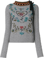 RED Valentino printed cable knit jumper