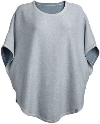 Cove Flora Cotton Cashmere Reversible Poncho Grey & Pebble