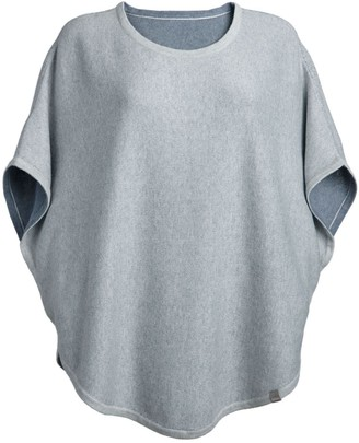 Flora Cotton Cashmere Reversible Poncho Grey & Pebble
