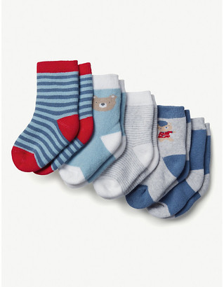 The Little White Company Pack of five London cotton-blend socks