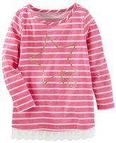 "Osh Kosh Toddler Girl Striped Glitter Star ""Shine"" Graphic Tunic Top"