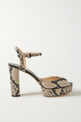 Jimmy Choo Peachy 105 Snake-effect Leather Platform Sandals - Snake print
