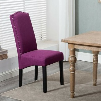 Charlton Home Tallega Upholstered Parsons Chair in Purple
