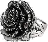 King Baby Studio Sterling Silver Black CZ Rose Ring