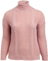 Derek Heart Women's Pullover Sweaters ZEPHYR - Zephyr Mauve Cable-Knit Button-Back Sweater - Plus