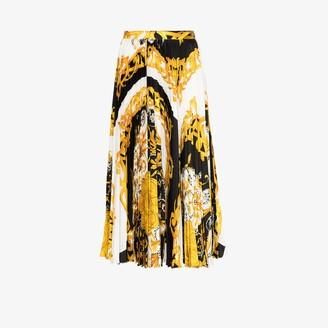 Versace Baroque print pleated midi skirt
