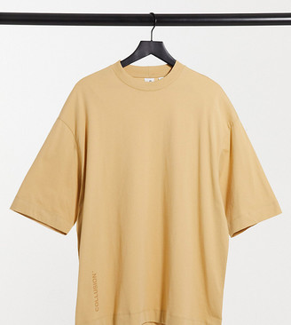Collusion super oversized t-shirt with logo in camel