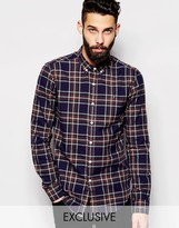 Farah Shirt With Tartan Check Slim Fit Exclusive - Brown