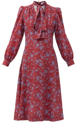 See by Chloe Pussy-bow Floral-print Crepe Midi Dress - Red Print