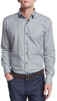 Peter Millar Vecchio Check Long-Sleeve Sport Shirt, Dark Gray