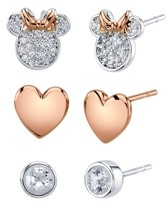 Disney Unwritten Three Pair Silver Plated Two Tone Rose Gold Minnie Mouse Earring Set with Rose Gold Heart and Bezel Cubic Zirconia Stud