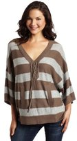C&C California Women's Stripe Poncho Sweater
