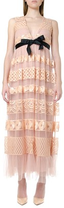 RED Valentino Embellished V-neck Tulle Dress