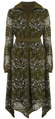 Dorothy Perkins Womens Paper Dolls Khaki Lace Belted Midi Shirt Dress, Khaki