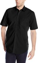 Volcom Men's Everett Solid Short Sleeve Shirt, Black2