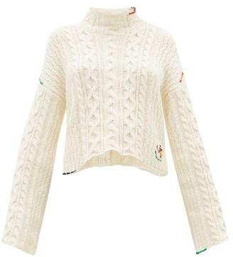 J.W.Anderson Logo-embroidered Cotton Sweater - Womens - Ivory