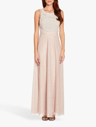 Adrianna Papell Beaded Sleeveless Gown, Shell