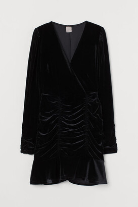 H&M Draped Velour Dress - Black