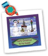 3dRose LLC qs_17490_10 Beverly Turner Christmas Design - Snowman with Bunny Friends 3d Merry Christmas to Niece - Quilt Squares