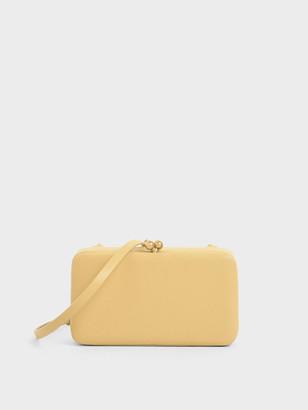 Charles & Keith Boxy Textured Twist Lock Crossbody Bag