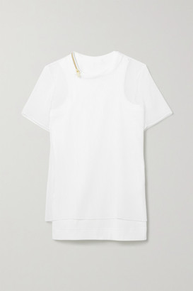 Sacai Layered Plisse-chiffon And Ribbed Cotton-blend Jersey Top