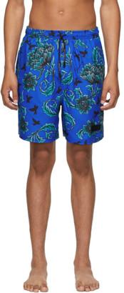 Givenchy Blue Floral Printed Long Swim Shorts