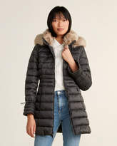 Laundry by Shelli Segal Faux Fur-Trimmed Quilted Long Coat