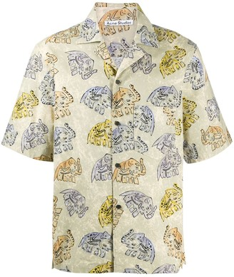 Acne Studios Elephant Print Short-Sleeve Shirt