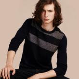 Burberry Graphic Check Cashmere Cotton Sweater , Size: Xxxl, Blue