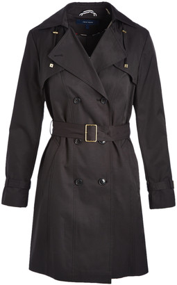 Cole Haan Women's Trench Coats Black - Black Double-Breasted Hooded Trench Coat - Women