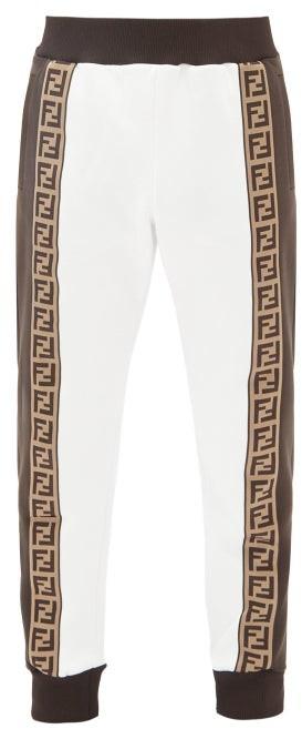 Fendi Ff-jacquard Cotton-blend Jersey Track Pants - White