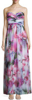 Aidan Mattox Sweetheart-Neck Floral-Print Gown, Pink/Multi