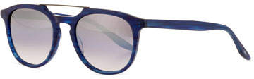 Barton Perreira Men's Rainey Rectangular Top-Bar Sunglasses, Cobalt/Silver