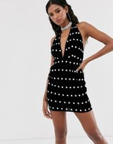 Asos Design DESIGN halter neck velvet embellished mini dress