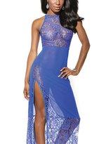 Bella Bridal Side Split Open Leg Stretch Lace Long Maxi Nightwear Lingerie Dress