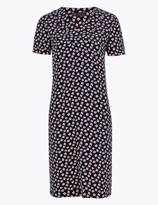 Marks and Spencer Crepe Floral V-Neck Knee Length Shift Dress