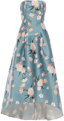 Sachin + Babi Strapless Flared Floral-print Satin-twill Gown