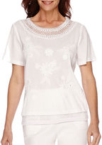 Alfred Dunner White Now Short-Sleeve Embroidered Trim Top