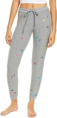 Chaser Women's Cozy Knit Embroidered Lounge Joggers