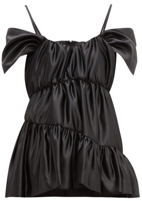 Simone Rocha Tiered Off The Shoulder Cap Sleeve Satin Top - Womens - Black