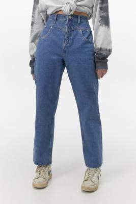 BDG Western Vintage Wash Straight-Leg Jeans - blue 24W 30L at Urban Outfitters