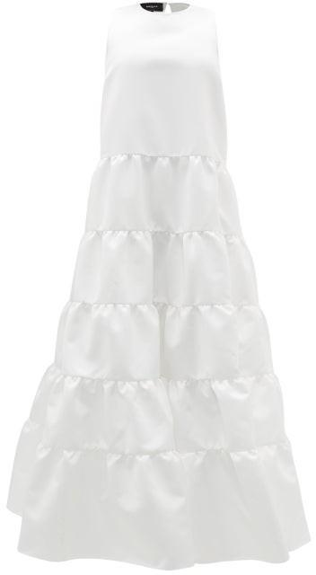 Rochas Duchess-satin Tiered Gown - Ivory