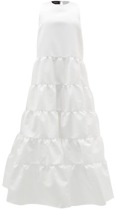 Rochas Duchess-satin Tiered Gown - Ivory