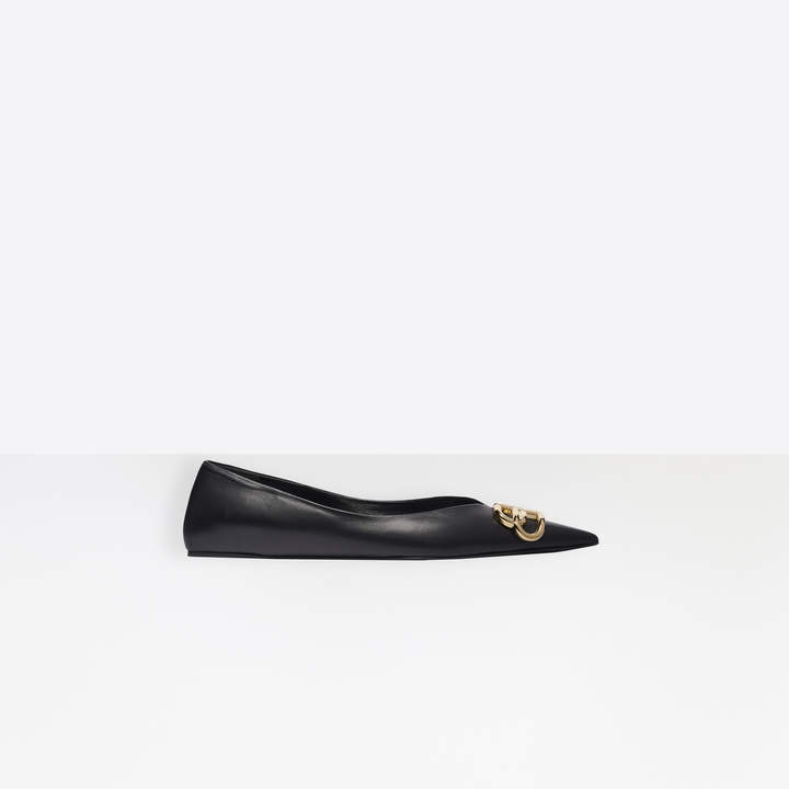 Balenciaga Square Knife BB Flat Ballerinas in black nappa leather and gold-toned hardware