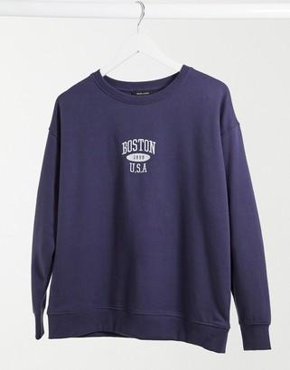 New Look Boston sweatshirt in navy